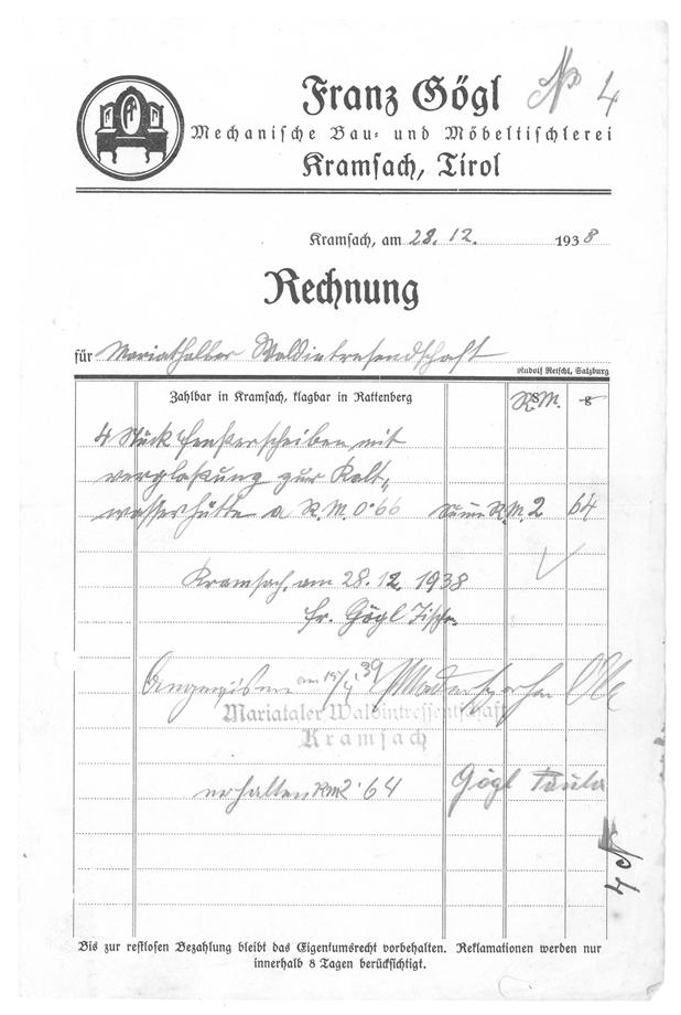 Tischlerei Gögl Kramsach Tirol -Rechnung 1906